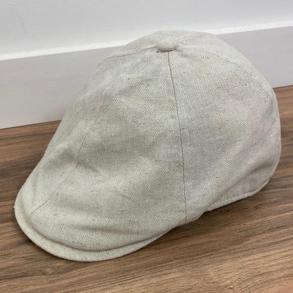 """Stetson cotton linen paperboy flat cap, 23.5"""""""